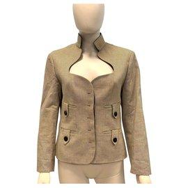 Yves Saint Laurent-Vintage and rétro cotton jacket-Beige