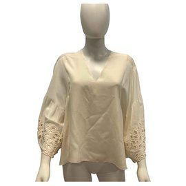 Chloé-Silk embroidered top-Cream