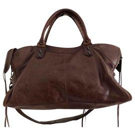 Balenciaga-balenciaga 100% auth 2009 F/W CHATAIGNE BROWN PART TIME BAG-Chestnut