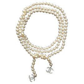 Chanel-Chanel, Necklace Belt-White