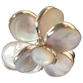 Chanel-Chanel, Bague Camelia en argent solide 925 et nacre blanc-Blanc