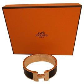 Hermès-Hermès bracelet clic h GM-Noir,Doré