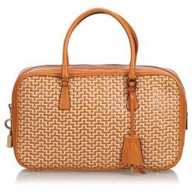 ce950fc45a Prada-Sac à main en cuir tissé-Blanc,Orange,Écru ...