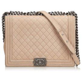 Chanel-Grand sac à rabat en cuir pour garçon-Marron,Beige