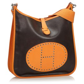 Hermès-Cuir Evelyne GM-Marron,Noir