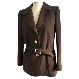Yves Saint Laurent-tailor jacket pants-Dark brown