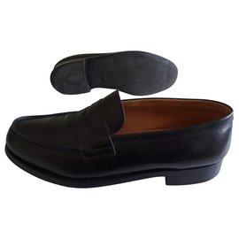 JM Weston-JM Weston Leather Moccasin, Black Box Calf-Black