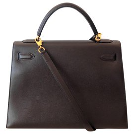 Hermès-Hermes Kelly 32 Sellier Marron-Marron