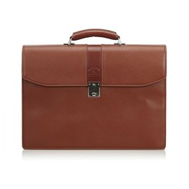 Burberry-Leather Business Bag-Brown