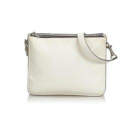 Céline-Small Leather Trio Bag-White,Cream