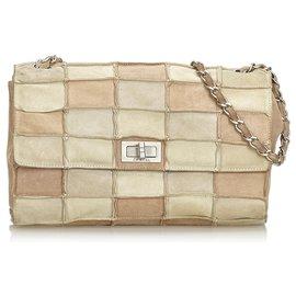 Chanel-Reissue Patchwork Flap Bag-Marron,Beige,Marron clair