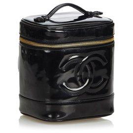 Chanel-Vanity CC en cuir verni-Noir
