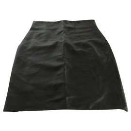 Acne-Acne Jeans Lambskin Leather Skirt-Black