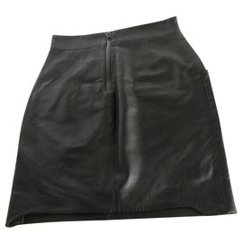 Acne-Acne Jeans Jupe en cuir d'agneau-Noir