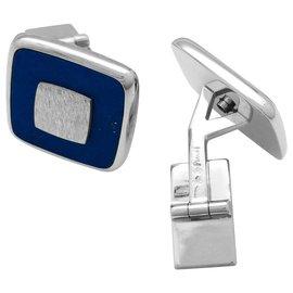 Piaget-Boutons de manchette Piaget, or blanc et lapis lazuli.-Autre