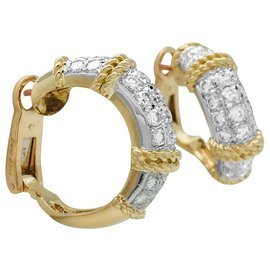 """Fred-Boucles d'oreilles Fred """"Isaure"""", 2 tons d'or et platine, diamants.-Autre"""