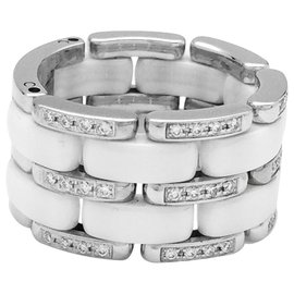 """Chanel-Chanel ring, """"Ultra"""" model, in white gold, white ceramic and diamonds.-Other"""