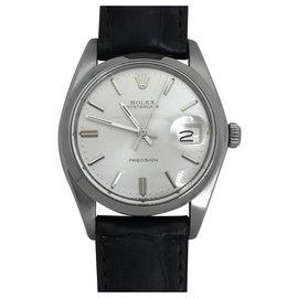 """Rolex-Montre Rolex, modèle """"Oysterdate Precision"""" en acier sur cuir.-Autre"""