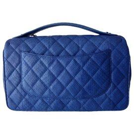 Chanel-SAC CHANEL CUIR EXOTIQUE GM-Bleu