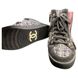 Chanel-Chanel Tweed lace up sneakers EU36-Other