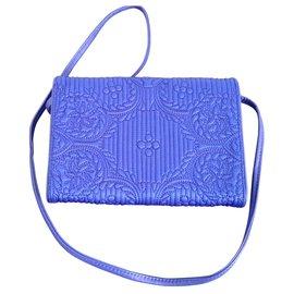 Christian Lacroix-Pochette/portefeuille cuir et satin-Bleu