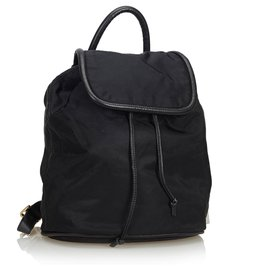 Céline-Nylon Drawstring Backpack-Black