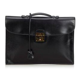Hermès-Box Leather Quirus Business Bag-Black