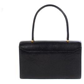 """Hermès-Superbe sac Hermès """"Boutonnière"""" vintage en cuir de lézard noir en très bon état !-Noir"""