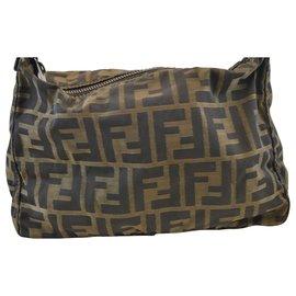 Fendi-Fendi Zucca Shoulder Bag-Brown