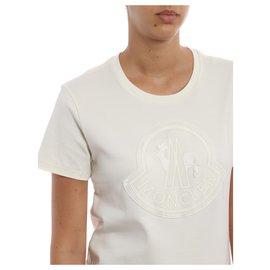 Moncler-MONCLER T-shirt avec maxi logo Moncler-Blanc