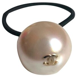 Chanel-Chanel Elastic pearl jewelry-Cream