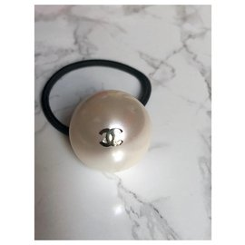 Chanel-Chanel Elastique bijoux perle-Écru