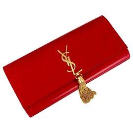 Saint Laurent-Pochette Pompom Kate en cuir rouge Saint Laurent-Rouge