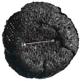 Chanel-Chanel, Camellia brooch tweed black gray-Black,Grey