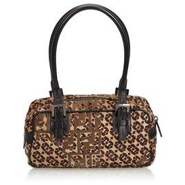 Fendi-Zucca Pony Hair Handbag-Brown,Beige,Dark brown
