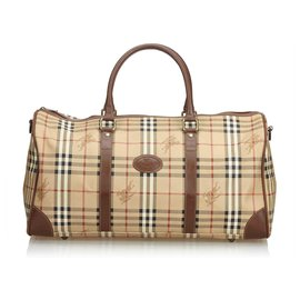 Burberry-Haymarket Check Duffle Bag-Brown,Multiple colors,Beige