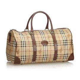 Burberry-Haymarket Check Duffle Bag-Brown,Multiple colors,Beige