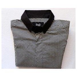 D&G-Chemise à motif triangulaire D & G-Noir,Blanc