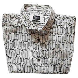 D&G-Chemise D & G à tirages arrondis-Blanc