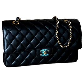 Chanel-SAC FLAP CLASSIC doublé CHANEL-Noir,Doré