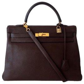 Hermès-BAG HERMES KELLY BROWN-Brown