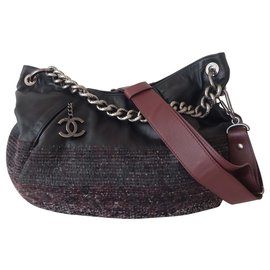 Chanel-BAG CHANEL GM LEATHER AND TWEED-Black,Dark red