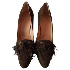 Hermès-Hermes pumps in suede-Brown