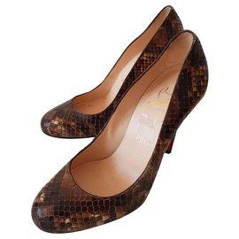 3cd96abd064 Christian Louboutin-Christian Louboutin Python shoes-Brown ...