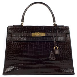 Hermès-hermes kelly 32 crocodile gold hardware-Brown