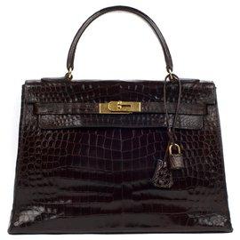 Hermès-Hermes Kelly 32 hardware de ouro de crocodilo-Marrom
