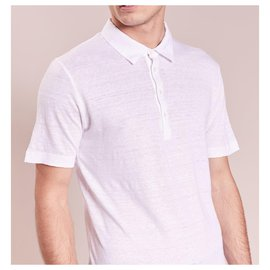 120% LINO-120% LINO MEN'S PURE LINEN POLO SHIRT-White