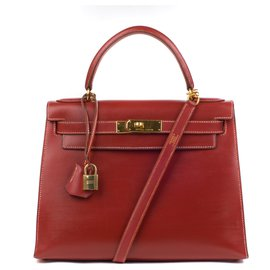 Hermès-Superbe Hermès Kelly 28 sellier bandoulière en cuir box rouge brique, accastillage doré en très bon état !-Rouge