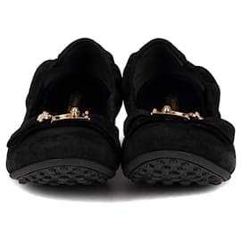 """Louis Vuitton-Ballerines Louis Vuitton """"Playful Flat"""" en daim noir, Taille 41, état neuf !-Noir"""