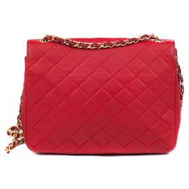 Chanel-Chanel Mademoiselle vintage red quilted leather bag, gold jewelery in good condition!-Red